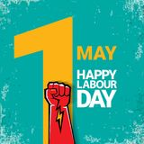 1 may Happy labour day vector label with strong red fist on torquise background . labor day background or banner with Stock Images