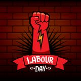 1 may - happy labour day. vector happy labour day poster or banner with clenched fist. workers day poster. labour day. Label or badge Royalty Free Stock Image