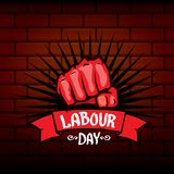 1 may - happy labour day. vector happy labour day poster or banner with clenched fist. workers day poster. labour day. Label or badge vector illustration