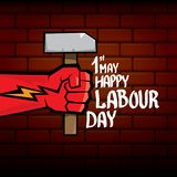 1 may - happy labour day. vector happy labour day poster or banner with clenched fist. workers day poster. labour day. Label or badge royalty free illustration