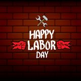 1 may - happy labour day. vector happy labour day poster or banner with clenched fist. workers day poster. labour day. Label or badge Royalty Free Stock Images