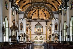 Holy Rosary Church located in Bangkok. A small church with beautiful interior design background,06 May 2017 Stock Photography