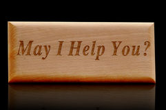 May i help you. Wood sign board Stock Photo