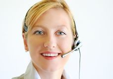May I help You?. Girls happy face with cell phone Stock Images