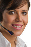 May I help you?. Frinedly, smiling woman with Head Set Royalty Free Stock Photos