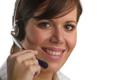 May I help you?. Frinedly, smiling woman with Head Set Stock Images