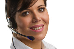 May I help you?. Woman with a Head-Set Stock Images