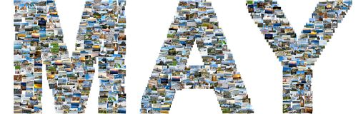 May made of travel photos. May - illustrated name of calendar month, each letter is made of multiple travel photos. Collage of travel images Royalty Free Stock Photos