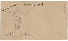 May 05, 2015: Illustration of Christ the Redeemer statue, which is located in Rio de Janeiro, Brazil. Painted on cardboard texture. Vector illustration Stock Photo