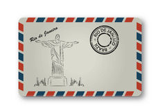 May 05, 2015: Illustration of Christ the Redeemer statue, which is located in Rio de Janeiro, Brazil. Painted on the envelope. Stock Photography