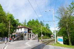 Harderbahn or Harder Kulm funicular station in Interlaken town. Royalty Free Stock Photography