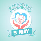 5 may International Midwives Day. Calendar for each day on may 5. Greeting card. Holiday - International Midwives Day. Icon in the linear style stock illustration