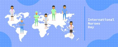 12 may. international nurses day. female doctor group stand on earth map different mark point country. vector illustration ep10 vector illustration