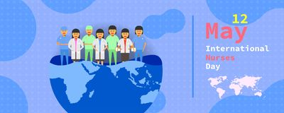 12 may. international nurses day. female doctor group stand on a half earth map different. vector illustration ep10 vector illustration