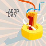 1 May International Worker's Day. May first labor day. Poster, banner or flyer design with stylish text 1st May on blue background, concept for labours day Royalty Free Stock Photos