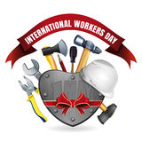 1 May. International Workers Day card. 1 May. Happy International Workers Day. May Day. Greeting card for Labor Day with a set of tools. Vector illustration Stock Image