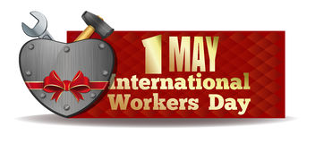 1 May. International Workers Day design. 1 May International Workers Day. Iron heart and tools tied with red ribbon. Workers Day card. May Day. Vector Royalty Free Stock Image