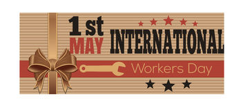 1 May International Workers Day. Retro style card. International Workers Day. Retro style greeting card. 1 st May. Vector vintage flyer template for Labor Day Stock Images