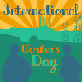 1 may. International workers day vector. 1 may - labour day. Poster international worker`s day Royalty Free Stock Images