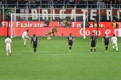 MAY 7, 2017: italian serie A soccer match AC Milan vs AS Roma 1 - 4. Royalty Free Stock Photos