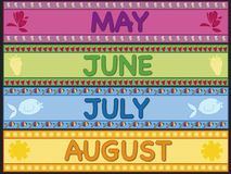 May june july august. Illustration of may, june, july and august Royalty Free Stock Photo
