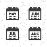 May, June, July and August icons. Calendar symbols. Royalty Free Stock Images