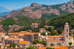 Mały Korsykański wioska krajobraz, stary Piana Obrazy Stock