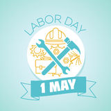 1 may labor Day. Calendar for each day on may 1. Greeting card. Holiday - labor Day. Icon in the linear style vector illustration