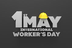 1 May Labor day. International worker`s day. 3D illustrating. Royalty Free Stock Photo