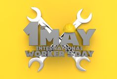 1 May Labor day. International worker`s day. 3D illustrating. Royalty Free Stock Image