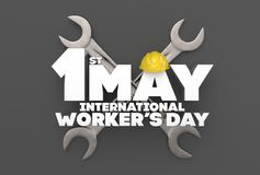 1 May Labor day. International worker`s day. 3D illustrating. Stock Photo