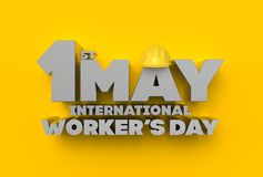 1 May Labor day. International worker& x27;s day. 3D illustrating. Royalty Free Stock Photos
