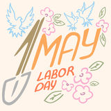 May 1 Labor Day logo symbol of pigeon, spring flowers spade holiday weekend.  Royalty Free Stock Images