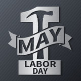 1 May. Labor Day.Vector illustration with metallic text on a dark background. 1 May. Happy Labor Day.Vector illustration with metallic text on a dark background Vector Illustration