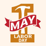 1 May. Labor Day. Vector illustration with a orange number and a red ribbon on a light background. 1 May. Happy Labor Day. Vector illustration with a orange royalty free illustration
