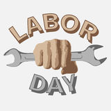 1 May. Labor Day.Vector illustration with a wrench in a fist on a white background. 1 May. Happy Labor Day.Vector illustration with a wrench in a fist on a white Vector Illustration