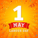 1 may, Labour Day banner. Lettering 1st may with on yellow beams, Labour Day vector background. International Workers day illustration royalty free illustration