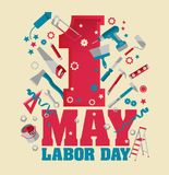 1 May Labour Day Poster or Banner. Vector Illustration. 1 May Labour Day Poster or Banner. Vector banner Illustration stock illustration