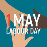 1 May Labour Day Poster or Banner. Vector Illustration Stock Images