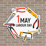 1 May Labour Day Poster or Banner. Vector Illustration Royalty Free Stock Image