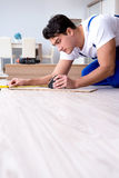 The may laying laminate flooring at home. May laying laminate flooring at home stock photography
