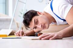 The may laying laminate flooring at home Stock Image