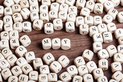 May, letter dices word Stock Photography