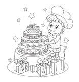 Mały śliczny ciasto szef kuchni Książkowa kolorystyka Fotografia Stock