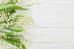 May-lily on wooden background Royalty Free Stock Images