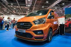 New Ford Transit MS-RT Van. 19 May 2018 - London, Great Britain. Flexible, agile and packed with power. New Ford Transit MS-RT van in London Motor Show Royalty Free Stock Image