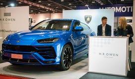 Elegant SUV Lamborghini Urus in Blue stock photo