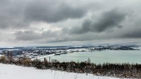 Ogosta reservoir during winter royalty free stock image
