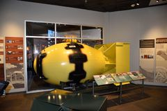 May 15, 2019, Los Alamos, New Mexico. A Model of The `Fat Man` Nuclear Bomb On Display At The Bradbury Museum In Los Alamos. It Wa. This was taken on a visit to royalty free stock image