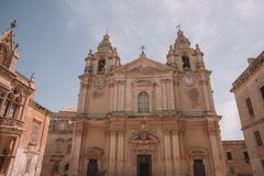 Beautiful architecture of the old town of Mdina on Malta. May 20, 2018. Malta, Mdina. Beautiful architecture of the old town of Mdina on Malta Stock Image